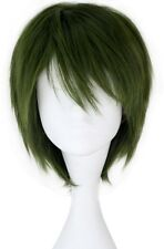 Miss U Hair Men's Synthetic Short Straight Dark Green Anime Cosplay Full Wig