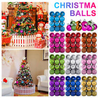 24pcs Glitter Christmas Baubles Xmas Tree Ornament Hanging Ball Decor DIY UK