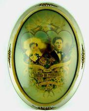 Vtg Wedding Portrait Art Deco Convex Bubble Glass Couple Marriage Framed 1920s