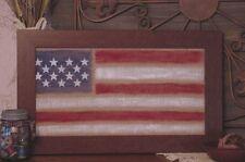 Americana Flag on Burlap w/Brown Wood Look Frame - 10416