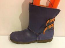 Cuero Genuino púrpura y naranja para mujeres Damas Plana Zapatos Botas Motorista (PG