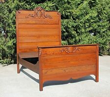 american victorian solid oak highback full size bed fancy crest circa