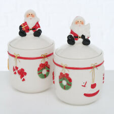 2 Stk Keksdose Dolomit SANTA Weihnachtsmann Weiss rot n50 Keksdosen Vorratsdosen