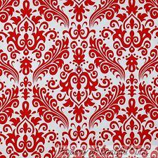 BonEful FABRIC FQ Cotton Quilt White Red Rose Flower Dot Damask Xmas Calico Girl