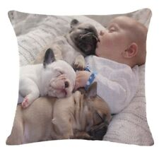 Bulldog & Baby Cotton Linen Throw Sofa Pillow Case Car Cushion Cover Home Decor