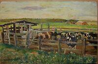 Russian Ukrainian Soviet Oil Painting realism cow collective farm impressionism