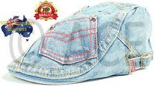 Womens Hats Designer 100% Cotton Denim Ladies Hat Pocket Vintage Flat Cap