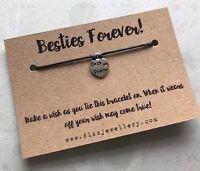 Besties Forever! Best Friend BFF Message Wish Tie Bracelet Friendship Gift Xmas