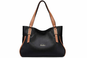NEW Zooler Global Soft Leather Handbag with Brown Handles, Black, One Size