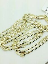 """14k Solid Yellow Gold Cuban Curb Link Necklace Chain 20"""" 5.7mm"""