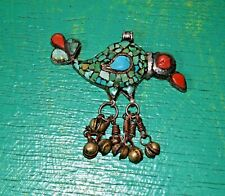 925 Silver Bird And Bells Pendant Huge Vintage Ethnic Tibetan Turquoise Coral