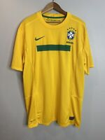 Nike Authentic BRAZIL Home Soccer Jersey Men's XL Yellow Green