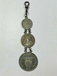 RARE WATCH FOB 1903-04 United States Philippine Issues Centavos 10/20/50 Silver