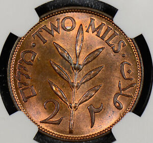 NG0283 Palestine 1927  2 Mils NGC MS 64 RB lustrous rare in this grade combine s