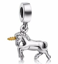 Fine Unicorn Horse 925 Sterling Silver European Bead Charm For Bracelet Necklace