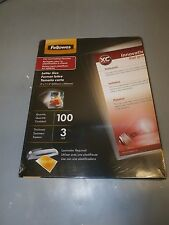 """BRAND NEW Fellowes Laminating Pouches  3mil 100 sheets 9 X 11.5"""" CRC52005 SEALED"""