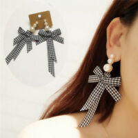 Fashion Jewelry Korean Style Pop Ribbon Bow Tie Dangle Piercing Earrings well