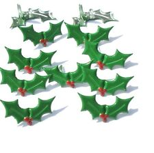 Brads - Holly leaves christmas - pk 3 - scrapbooking