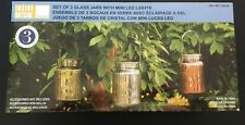 Inside Outside Garden Set of 3 Colered Glass Jars With Mini LED Lights