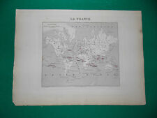 LA FRANCE COLONIES F CARTE ATLAS MIGEON Edition 1885, Carte + fiche descriptive
