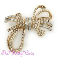 Catwalk Chic Gold Plated Cubic Zircon Bow Knot Brooch Pin w/ Swarovski Crystals