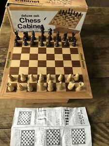 Deluxe Oak Chess Set Folding Swivel Inlaid Wooden Case High Quality Game Mancave