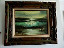 VINTAGE OIL PAINTING SEASCAPE ON CANVAS BY H. GAILEY  FRAME AND SIGNED