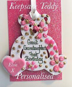 Great Grandaughter's First Birthday Keepskake On A Greetings Card Personalised