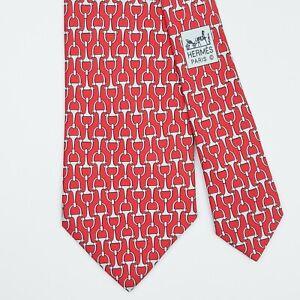 HERMES TIE 5214 IA Horse Bit on Red Classic Silk Necktie