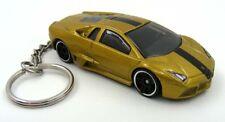 Custom Keychain Lamborghini Reventon Gold and Black Key Chain Ring Fob
