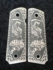 Colt 1911 custom ivory scrimshaw grips Grim Reaper Skull Cards Dice Scroll