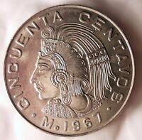 1967 MEXICO 50 CENTAVOS - AU - Excellent Collectible Coin - BIN #A