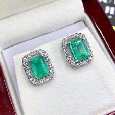 COLOMBIAN 3.50TCW Emerald VS Diamonds 18K white gold Natural earrings stud