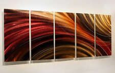Huge Earthtone Painting Metal Wall Art Panels Abstract Red Gold by Jon Allen