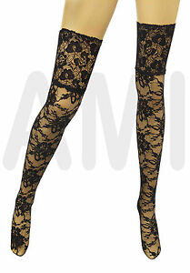 Womens Sexy Stockings Tights Black Lingerie Fits Sizes 6-16 Floral Valentines 1