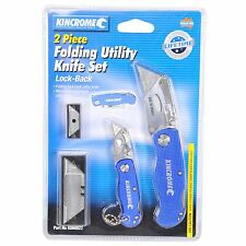 NEW KINCROME 2 PIECE K060022 FOLDING UTILITY LOCK KNIFE SET - STAINLESS STEEL