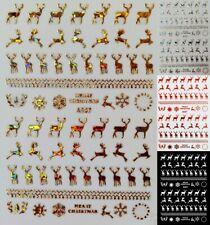 4 Colors Merry Christmas 3D Reindeer Deer Horn Santa Snowflake Nail Art Sticker