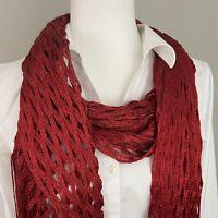 "Red Metallic Thread Honeycomb Oblong Long Scarf Shawl 40"" x 84"""