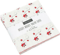 "Merry Merry Snow Days Moda Charm Pack 42 100% Cotton 5"" Precut Quilt Squares"