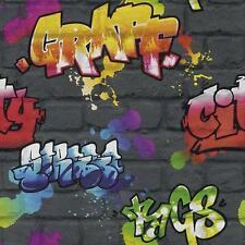 New BLACK GRAFFITI BRICK EFFECT FEATURE TEENAGE,KIDS ROOM WALLPAPER Rasch 237801