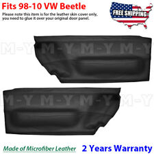 Door Panel Insert Card 2pcs Leather Cover Fits for Volkswagen Beetle 98-10 Black