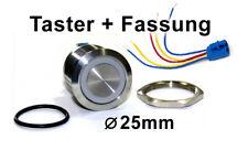 25mm Drucktaster LED rot als Schalter Edelstahl IP67 m. Kabel