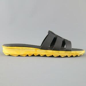 CHRISTOPHER KANE Size 11 Black Leather Yellow Rubber Sole Sandals