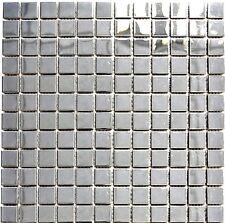 Mosaik silber silver Edelstahl glänzend Fliesenspiegel Küche 129-23G | 10 Matten