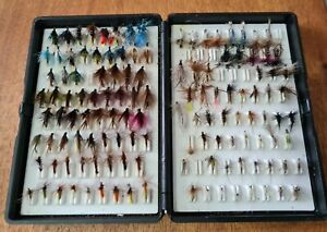 A GOOD LOT OF FLIES AS PICTURED HOUSED IN A FOX BOX FLY BOX GOOD SELECTION