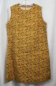 Vtg Jumper Dress Vest Sleeveless 60s 70s Quilted Cotton Paisley Retro Mod 16 L