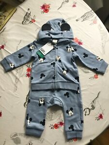 Bb H&M Disney Mickey Mouse 2 Piece Hoody and Trousers Age 4-6 Months BNWT
