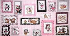 "Loralie Harris Fancy Cats Kitty Cat Feline Pink Cotton Fabric 24""X44"" PANEL"