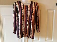 ANN TAYLOR Women's Vertical Stripe Black Tan Pink Cotton Cardigan Sweater Size S