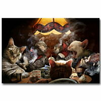 58984 Cats Game Playing Poker Funny Decor Wall Print POSTER